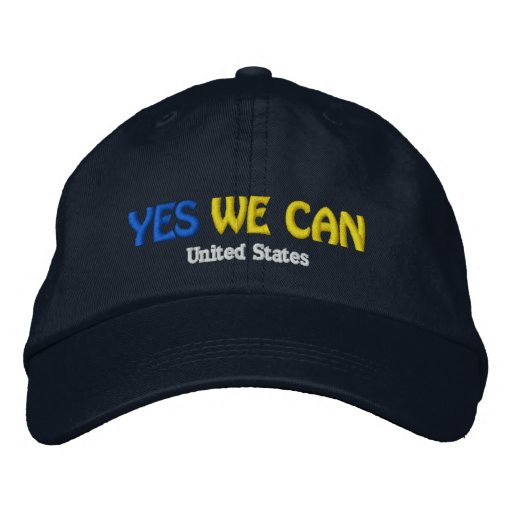 """""""YES WE CAN"""" United States Dark Embroidery Cap Baseball Cap"""