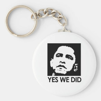 """Yes we did"" Basic Round Button Key Ring"