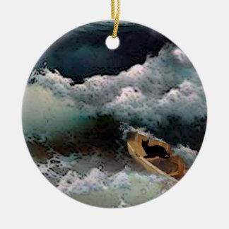 Yeshua's Cat: Storm Waves Ceramic Ornament