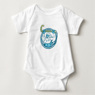 Yeti Lifting J Hook Circle Retro Baby Bodysuit