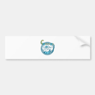 Yeti Lifting J Hook Circle Retro Bumper Sticker