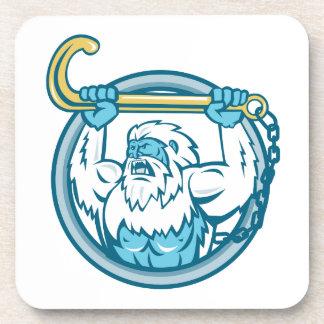 Yeti Lifting J Hook Circle Retro Coaster