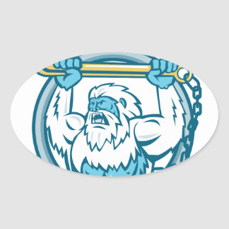 Yeti Lifting J Hook Circle Retro Oval Sticker