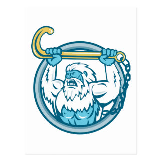 Yeti Lifting J Hook Circle Retro Postcard