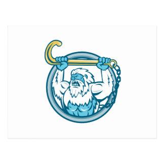Yeti Lifting J Hook Circle Retro Postcard