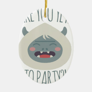 Yeti To Party Ceramic Oval Decoration