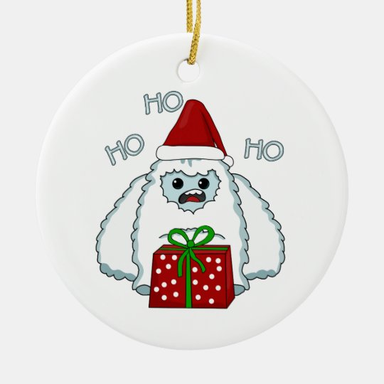 Yeti Xmas Ceramic Ornament