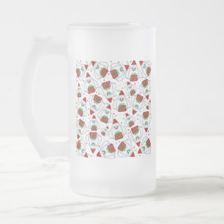 Yeti Xmas pattern Frosted Glass Beer Mug