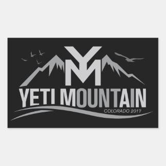 YetiMan Mountain Colorado 2017 Gray on Black Rectangular Sticker