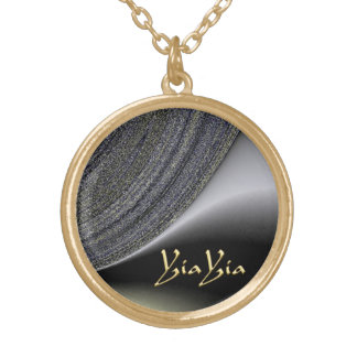 YiaYia Abstract Black and Gold Design Necklace Round Pendant Necklace