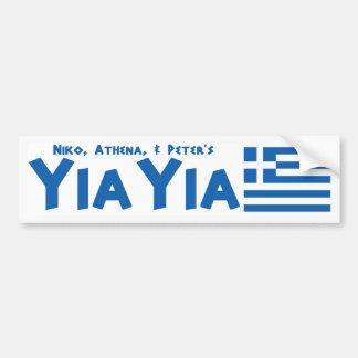 YIAYIA Greek Flag Bumper Sticker (Personalized)
