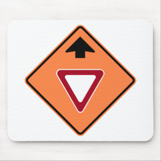 Yield Ahead Construction Zone Highway Sign Mouse Pad