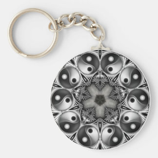 Yin and Yang Basic Round Button Key Ring