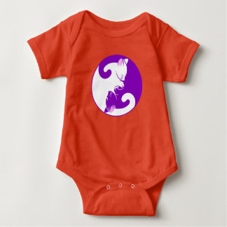 Yin and Yang Cute Cat Design Baby Bodysuit