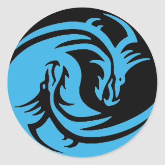 Yin and Yang dragons tribal black and blue set Classic Round Sticker