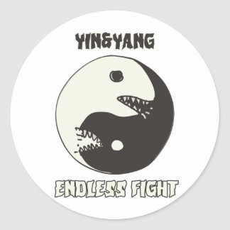 yin and yang endless fight cartoon style classic round sticker