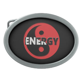 Yin and yang energy concept. oval belt buckle