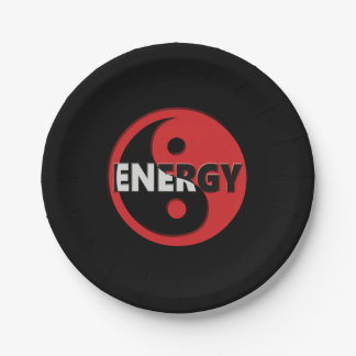 Yin and yang energy concept. paper plate