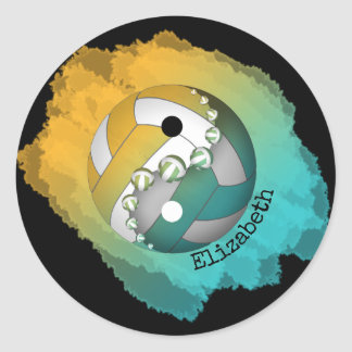 Yin and yang her name volleyball turquoise gold classic round sticker