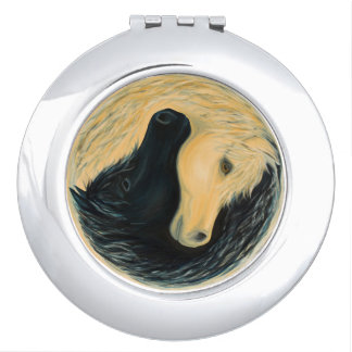 Yin and Yang horse compact mirror