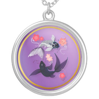 Yin and Yang Koi and Cherry Blossoms  Necklace