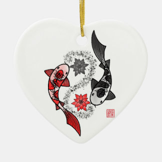 Yin and Yang Koi Fish Ceramic Ornament