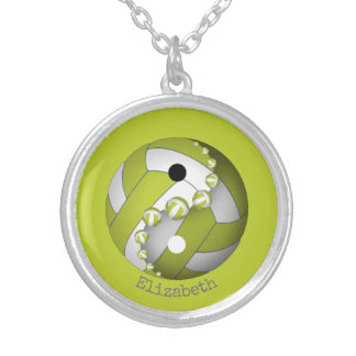 Yin and yang lime or ANY color women's volleyball Silver Plated Necklace