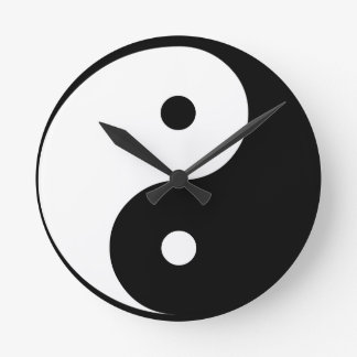 Yin and Yang Round Clock
