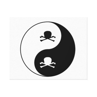 Yin and yang skulls canvas print