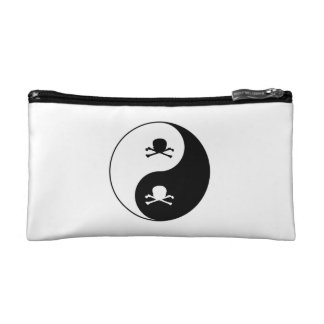 Yin and yang skulls cosmetic bag