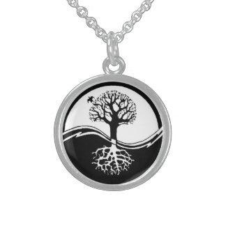 Yin and Yang Tree Sterling Silver Necklace