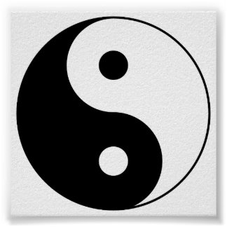 Yin_Yang2 Black and White Poster
