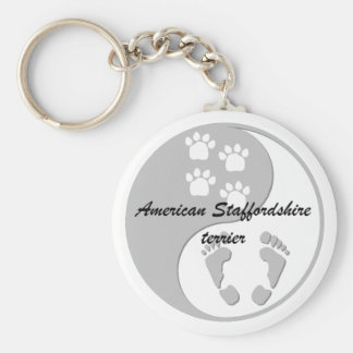 yin yang american staffordshire terrier key ring
