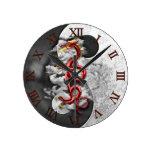 Yin Yang And Dragon Round Wallclocks