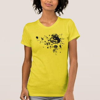 Yin Yang and Flowers illustration t-shirt