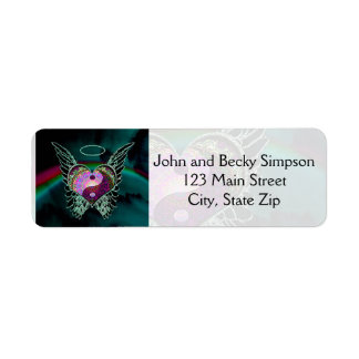 Yin Yang, Angel Wings and Heart Return Address Label