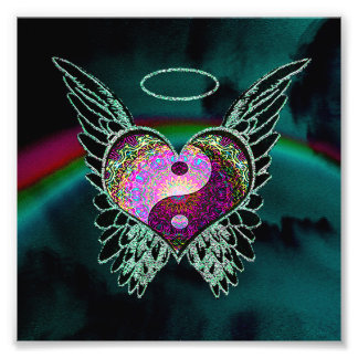 Yin Yang, Angel Wings, Heart and Space Photo