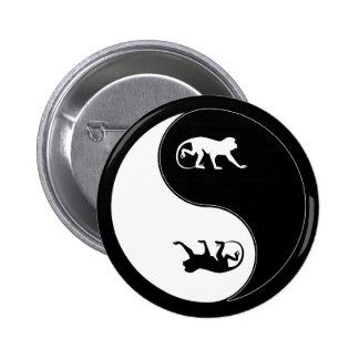 Yin Yang Baboon 6 Cm Round Badge