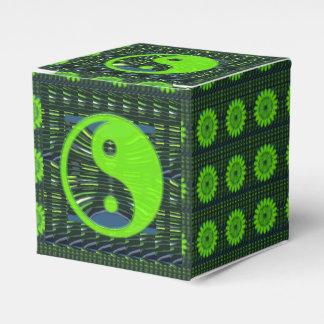 Yin Yang Balance Green Editable DIY 2x2 Favor Box