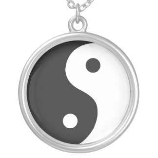 Yin Yang  - Black and White Silver Plated Necklace