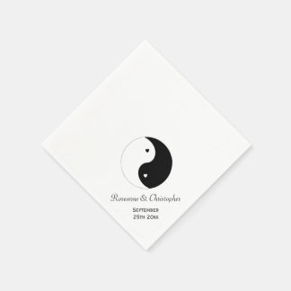 Yin Yang Black And White Wedding Disposable Serviette