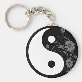 Yin Yang Black Floral Keychain