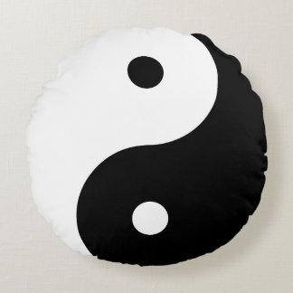 Yin Yang - black Round Cushion
