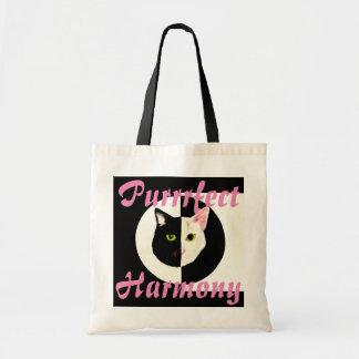 Yin yang black white cat perfect harmony budget tote bag