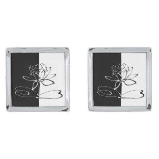 Yin Yang Black White Lotus Blossom Silver Finish Cufflinks