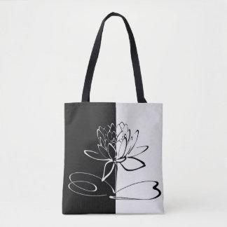 Yin Yang Black White Lotus Blossom Tote Bag