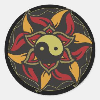Yin Yang Blooming Lotus Classic Round Sticker