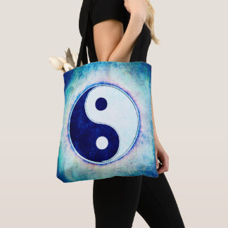 Yin Yang - Blue Wasched Tote Bag