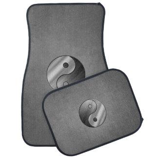Yin Yang Brushed Steel Car Mat