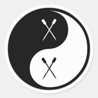 Yin Yang Canoeing Round Sticker